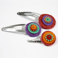 Hair Clips decorated with Foam Rubber and Sequins