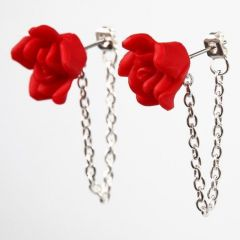 Stud Earrings with Jewellery Chain and a Flower