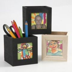 A Small Wooden Storage Box, decorated with Collage