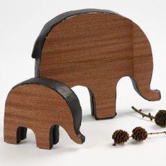 Elephants with Wood Veneer
