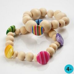 Bracelets with Wooden Beads and Plastic Buttons