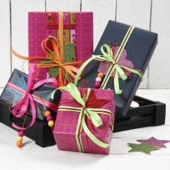 Gift Wrapping with Neon Coloured Ribbon and Foam Rubber with Glitter