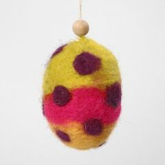 A Polystyrene Egg with Needle Felted Carded Wool