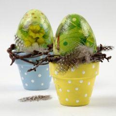 Plastic Eggs with Napkin Decoupage