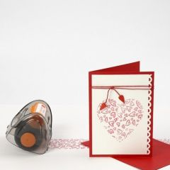 A Tablecloth and a Greeting Card with printed Hearts