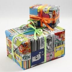 Gift Wrapping using Wrapping Paper with Graffiti