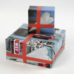 Gift Wrapping using Wrapping Paper with Manila Inspired Collage