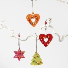 Wooden Hanging Decorations with brass Wire and wooden Beads
