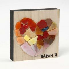 A Glass Mosaic Design on a wooden Icon Plate