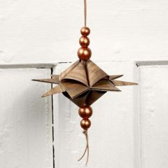 A Pyramid-Shaped Star on a Leather Cord with Beads