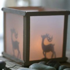 A Lantern with a Silhouette Effect made from Lolly Sticks