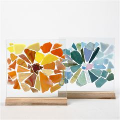 Glass Mosaic Fragments on Glass Plates