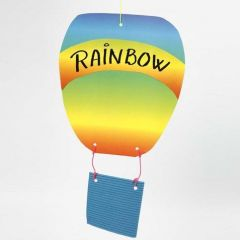 A Hot Air Balloon made from Corrugated Board and Rainbow Paper