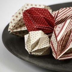 Origami Folded Baubles made from Copenhagen Design Paper