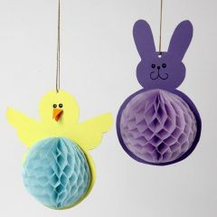A Chick and an Easter Bunny from Card and Honeycomb Paper