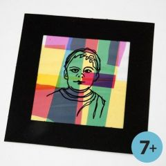 A framed Portrait on a Collage of coloured Cellophane