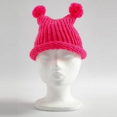 A Hat with two Pom-Poms made on a Knitting Loom