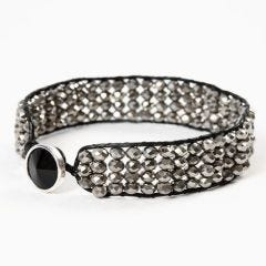 A Braided Bracelet made from Leather Cord and Faceted Beads