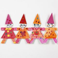 A Christmas Border of Dancing Children made from Punched-Out Card