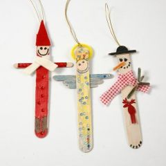 Christmas Figures from painted and decorated Ice Lolly Sticks