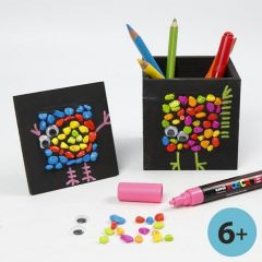 Mosaics & Graphics on black-painted Pencil Holder & Collage Frame