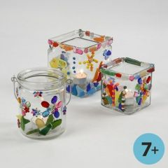 Colourful Mosaic on Clear Candle Holders