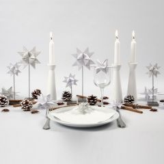 Woven Stars on a Stand, painted wooden Candle Sticks & Pine Cones
