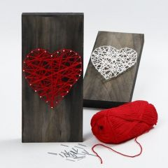 A woven Heart on a painted wooden Icon Plate