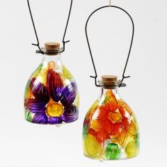 A Glass Wasp Trap decorated with a painted floral Design