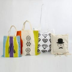 Shopping Bags with coloured Stripes and Graphics
