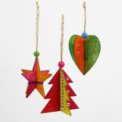 Wooden 3D hanging Decorations with Glitter Paint and Rhinestones