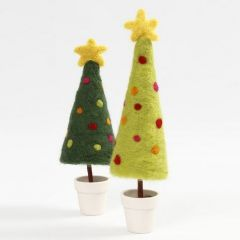 A Needle Felted Christmas Tree with a Star on a Stand in a Pot