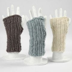 Two knitted Wrist Warmers made from a Ball of Wool