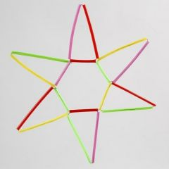 A Star made from colourful Construction Straws on Florist Wire
