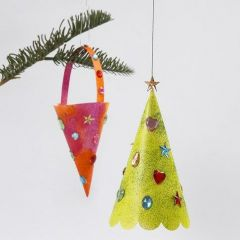 Cone & Christmas Tree decorated with Glitter Paint & Rhinestones