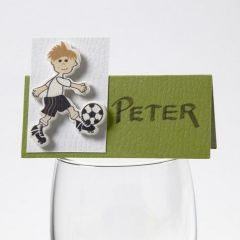 A Footballer Wood Veneer Sticker on a Happy Moments Place Card