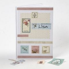 White Note Book decorated with Decoupage Stickers & Design Paper