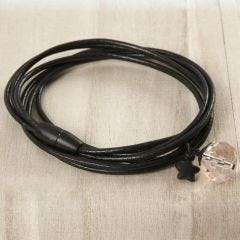 A Bracelet from three Leather Cords with a faceted Bead & a Star