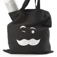 A black Shopping Bag with white Fabric Printing using a Template