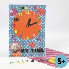 A Colorbar Card Clock with punched-out Foam Rubber Numbers