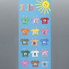 A Poster with Names and Pictures as Washing on a Clothes Line