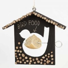 A painted Bird Feeding House decorated with wooden Discs