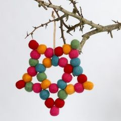 A Star made from Florist Wire and colourful woollen Balls