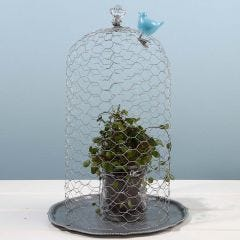 A Bell made from Chicken Wire Netting with a Prism for a Handle