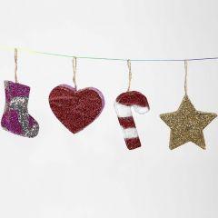 Christmas Papier-Mâché hanging Decorations with Glitter