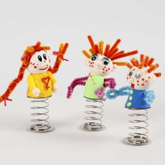 A small Silk Clay Doll on a coiled Spring with a Stand