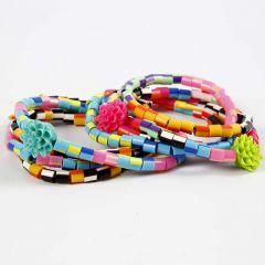 Bracelets from stripy Nabbi Beads and Flower Beads