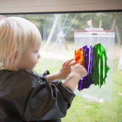 Painting a Picture in a transparent Plastic Bag