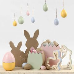 Easter Shapes painted in pastel Colours