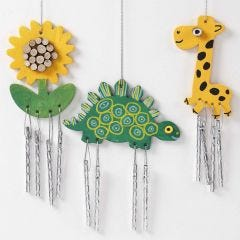 Painted Wind Chimes decorated with wooden Discs and graphic Designs
